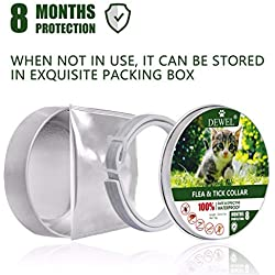 Waniba Collier antipuces pour Chat 8 Mois Protection - puces tiques pour Chats Chatons Chiots 34.5cm (Gris)