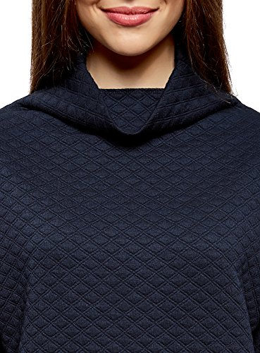 oodji Collection Femme Pull en Tissu Texturé à Large Col Bleu (7900N)