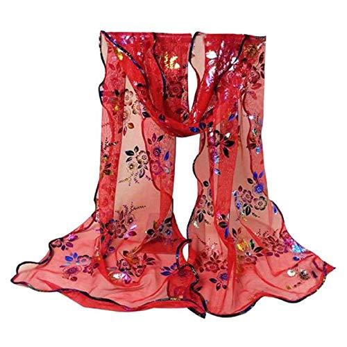 YEBIRAL Damen Schal Mode Accessoires Lace Gaze Blume Drucken Weich Tücher Halstuch 10 Farben(Rot) -