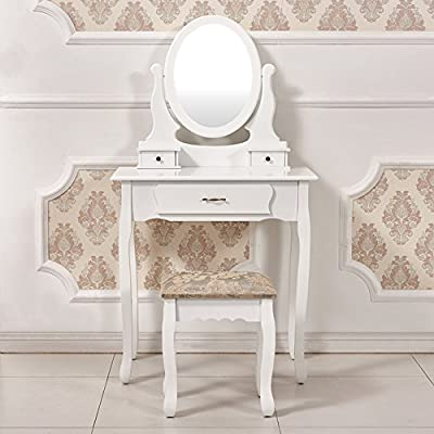 Tason Elegant Dressing Table with Rotatable Oval Mirror and Stool Set, Vanity Bedroom Dresser Makeup Desk - cheap UK light store.