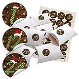 24 kleine Geschenkschachteln Geschenk-Boxen Kartons Holz Optik weiß 14,5 x 10,5 cm, 3 cm hoch + Aufkleber Adventskalender-Zahlen 1 bis 24