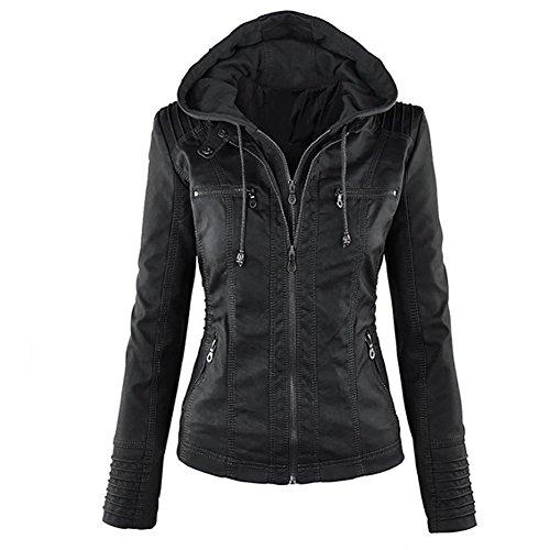 LooBoo Jackets Mujer Capucha Cremallera Jackets Chaquetas Cuero Moto Cazadoras Imitacion Piel Biker Abrigos con Capucha 2018