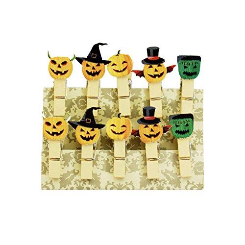 Oblique-Unique® Kleine Mini Holz Wäscheklammern Holzklammern Deko Klammern mit Motiv (Halloween)