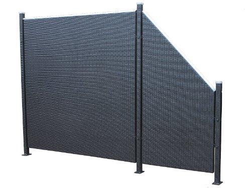 Prime Tech Poly-Rattan Sichtschutz / Zaun, Set 5-teilig in schwarz