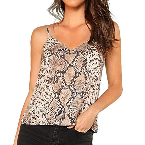 iZZB Damen t Shirt Schlangen-Print mit V-Ausschnitt Lässige Riemen Crop Sling Camis Sommer Bluse Weste Oberteile Tops Mode 2019 (Brown, ()
