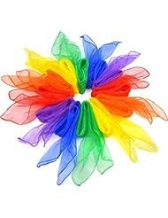 SUMERSHA Multicolore Foulard Carrée Echarpe Foulards à Jongler Danse 12pcs