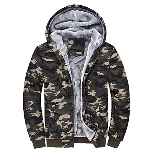 ZhiYuanAN Herren Camouflage Pullover Winter Casual Parka Jacke Kapuzenpullover Plus Samt Dicke Warme Jacken Kapuzenjacke Tarnung M (Kapuzen-parka Klettern)