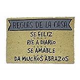 koko doormats Felpudo Reglas de la Casa Natural-Grey, PVC, Coco, 40 x 60 cm