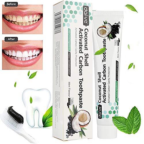 Kokosnuss Aktivkohle Zahnpasta-Natürliche Zahnaufhellung und Zahnreinigung -Weisse Zähne- Schwarze Zahncreme Ohne Fluorid -Tee Kaffee Fleck Entfernen- Whitening Zahnpasta- Für Empfindliche Zähne