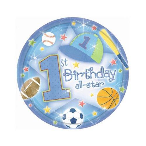 18-assiettes-de-table-grandes-en-carton-bleu-all-star-1er-anniversaire-garcon-1st-birthday