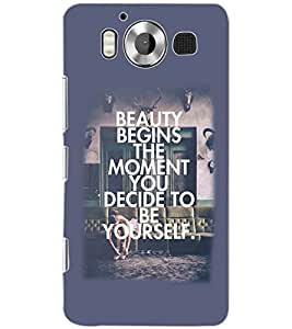 PrintDhaba QUOTE D-6335 Back Case Cover for MICROSOFT LUMIA 950 (Multi-Coloured)