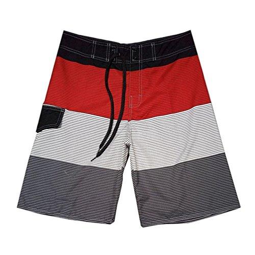 Baymate Herren Streifen Badehosen Spleiß Boardshorts Surf-Shorts Boardshorts Rot