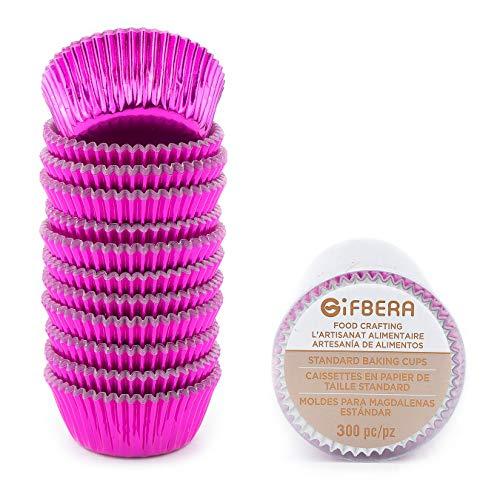 gifbera Mini Backförmchen, 300-count Bright Metallic Folie Papier Cupcake Liners Mini Größe Mini fuchsia Fuchsia Cupcake