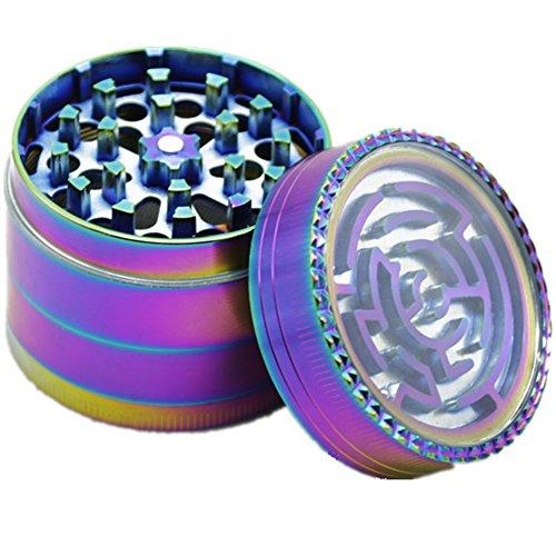 Engshwn Neues Design Premium Zink Legierung Bunte Regenbogen Maze mit Pollen Catcher robuste Gewürz Tabak Kraut Schleifer 4 teilig 52mm Pink Space Case Grinder