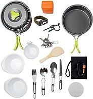 MalloMe Camping Cookware Mess Kit حقائب الظهر و معدات المشي لمسافات طويلة في الهواء الطلق حقيبة أدوات الطبخ |