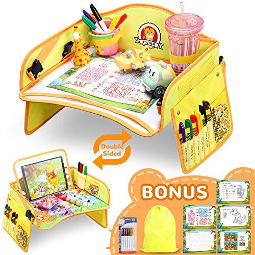 6 Farbstifte 5 Zeichenpapier Kindersitz Spiel und Knietablett Reisetisch Abnehmbarer Tablet-Tasche und Seitentaschen mit 1 Transparenter Film Flyfun Doppelfunktion Kinder Reisetisch