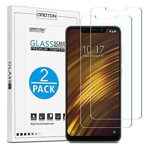 OMOTON [2 Pezzi] Compatibile con Xiaomi Pocophone F1 Pellicola Protettiva in Vetro Temperato - Durezza 9H - Anti-Graffi - 99% di Trasparenza e Sensibilità