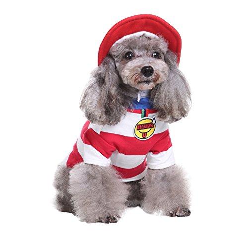 atrose-Kostüm Hundekleider aus weicher Baumwolle Jumpsuit in Rot Streifen mit Hut Weibhnachten Halloween Fest Dog Cosplay Clothes für Haustier Welpen Hunde und Katzen S/M/L/XL (Halloween Matrose Hut)