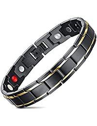 Magnetic Bracelet - Jeracol Magnetic Bracelet Men with Health 4 Element Magnets Mens Magnetic Bracelets for Arthritis and Carpal Pain Relief Magnetic Therapy Bracelets with Free Links Removal Tool.