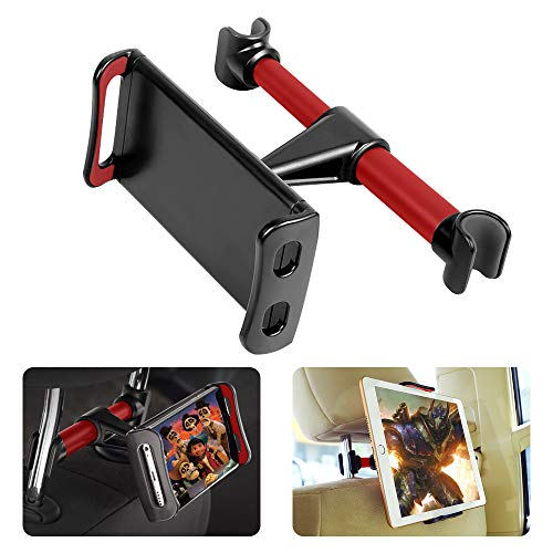 Supporti Poggiatesta per Tablet Cellulare con 2 Appendiabiti Auto, Supporto per Telefono Tablet per Schienale Auto universale per iPad Samsung Nintendo Switch Kindle Fire da 4 a 10.1 pollici (Red)