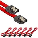 Poppstar 6x S-ATA 3 HDD SSD Datenkabel (0,5 m, 2x Stecker gerade) (bis zu 6 Gbit/s), Sata Kabel für DVD, BlueRay, Festplatte, Motherboard, PC Case Modding uvm., rot