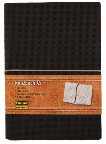 Idena 209133 - Notizbuch, circa A5, kariert, 12 x 17.5 cm, mit Lederoptik, schwarz