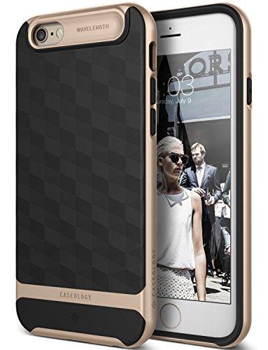 iPhone 6 Hülle, Caseology [Parallax Serie] Schlank Doppelte Schutz Haftung dank Textur geometrischem Design [Schwarz / Gold - Black / Gold] für Apple iPhone 6 (2014) & iPhone 6S (2015)