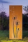 Gartenwand Sichtschutz Pusteblume3 rost Stahl 75x195 cm