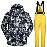 2 Teilig Skianzug Skijacke + Skihose Winddicht Wasserdicht Warme Sports Schneeanzug Mit Verstellbarer Träger Für Männer (C M)