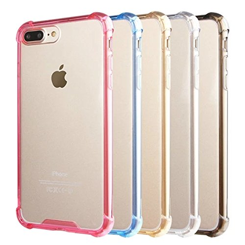 iPhone 8 Plus / 7 Plus Coque Silicone de NICA, Ultra-Fine Housse Transparente avec Contour de Protection Cover Slim Etui, Mince Telephone Clear Gel Bumper Case pour Apple iPhone 7+ / 8+ - Pink Rose Bleu