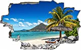 DesFoli Palmen Beach Strand 3D Look Wandtattoo 70 x 115 cm Wanddurchbruch Wandbild Sticker Aufkleber C445