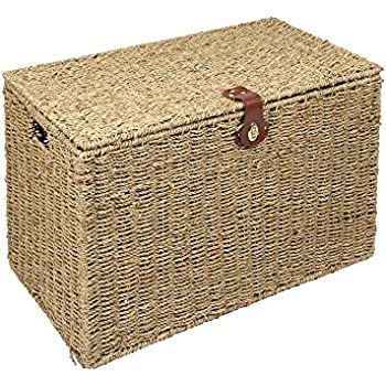 Beautiful WoodLuv Medium Seagrass Storage Trunk Linen Laundry Storage Basket, Natural
