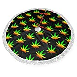Huabuqi Gonna per Albero di Natale Weed Marijuana - 36 Pollici Gonna per Albero Grande Decorazioni Natalizie Ornamenti Natalizi per Vacanze 36 Pollici