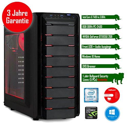 Rhino Game i7450 W10 mit Windows 10 I Intel Core i5 7400 4x 3.0 GHz I 8 GB DDR4 I NVIDIA GeForce GTX1050 2 GB I MSI I 1000 GB SATA I DVD-Brenner I Xilence Cooler & Netzteil I USB 3.0 | Gigabit-LAN | 7.1-Kanal-Sound I Bullguard Internet Security Lizenz 1 Jahr / 5 PCs I 36 Monate Garantie