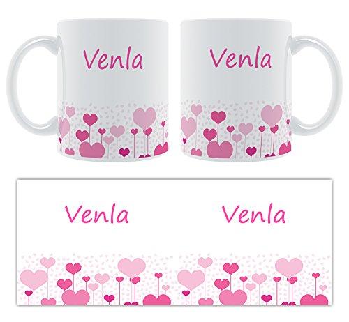 venla – Motif cœurs – Femelle Nom personnalisable Mug en céramique