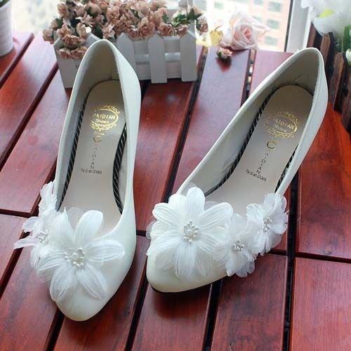 JINGXINSTORE Fiore di perla bianca Nuziale matrimonio Prom scarpe tacco alto Maria Pizzo serale white