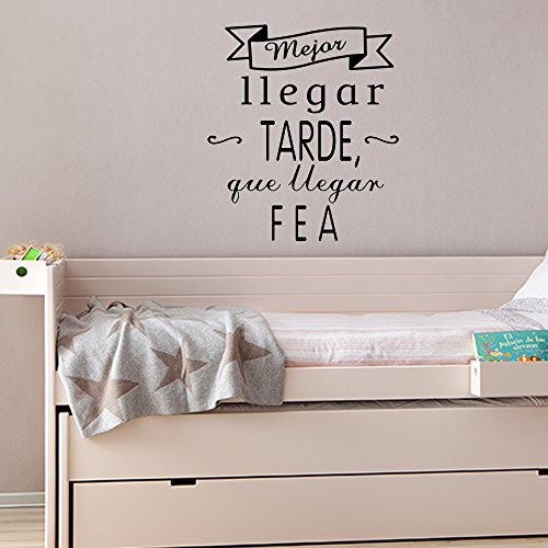 Frase vinilo mejor llegar tarde vinilos decorativos vinilo frases motivadoras para pared - Frases para vinilos habitacion ...