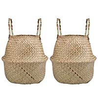 Lawei 2 Pack Seagrass Belly Basket Home Storage Organizer Handmade Woven Foldable with Handle for Toys Laundry Picnic Plant Pots Beach Bag (S)