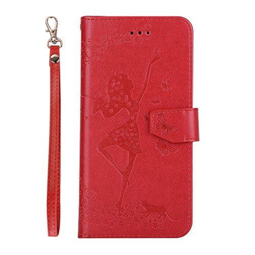 "IJIA Pur Embossage Rose Danseuse PU + TPU Doux Silicone Slot Magnetic Flip Cuir Portefeuille Dragonne ID Credit Card fonction Case Cover Coque Housse Etui pour Apple iPhone 7 Plus 5.5"" Red"