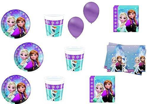 CDC–Kit N ° 16Día y Party Frozen–(40platos, 40vasos, 40servilletas, 1mantel, 100globos)