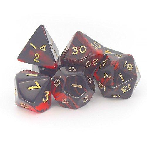 Preisvergleich Produktbild Oblivion Set, 7 Polyhedron Würfel D4 D6 D8 D10 D12 20 D00) rot