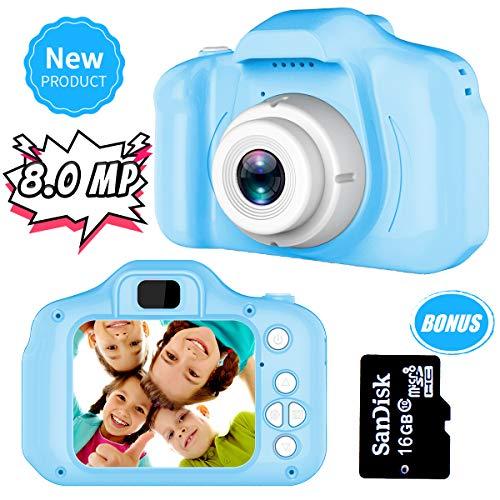 Giocattoli per 3-8 Anni Ragazzi Joy-Fun Macchina Fotografica Digitale 8.0 MP Macchine Fotografiche per Bambini Video Disco Elettronico Giocattolo Regali di Compleanno Blu