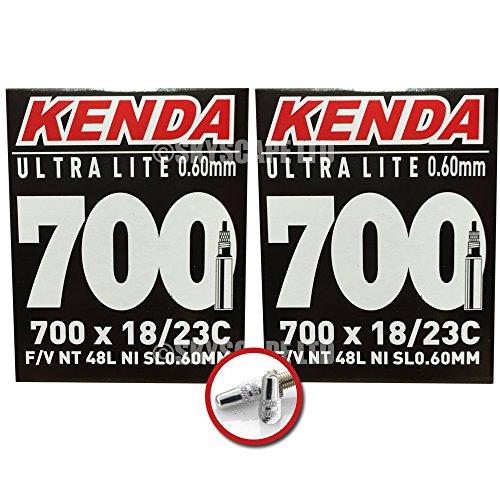 2 x KENDA Fahrradschlauchen - 700 x 18 - 23 (ULTRA LITE - 0.6mm) 48mm Sclaverand / Presta ventil - GRATIS VERSAND + kostenlose metall ventilkappen wert 3,99! (Ventil Presta Lite)