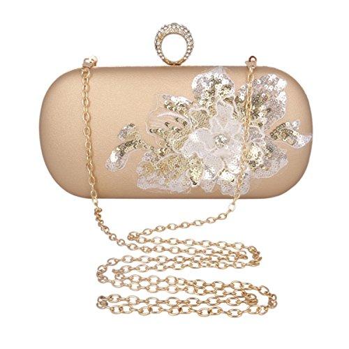 Adoptfade Elegant Damen Abendtasche Glitzer Pailletten Blummen Schnappverschluss Mit Strasssteine, Silber Gold