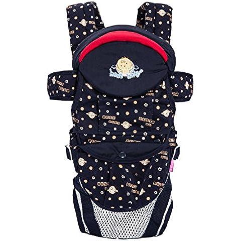Frente respirable del Portabebés suave y hombros Algodón Volver Seguridad Confort Protección de impresión multifunción de bebé de la honda del