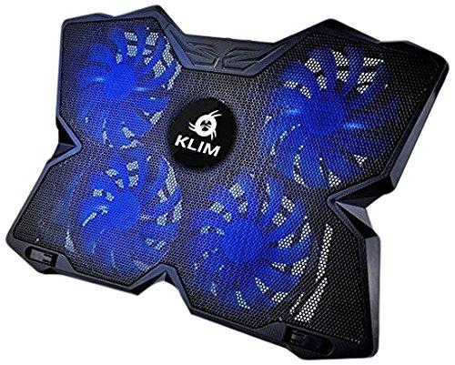 KLIM Wind Refroidisseur PC portable - Le Plus Puissant - Refroidissement Rapide - 4 Ventilateurs Support Ventilé Gamer Gaming Plaque (Bleu)
