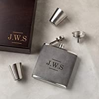 Personalised Monogram Hip Flask Set - Unique Father's Day Gift - Luxury Gifts for Men - Vegan Leather 6oz Flask, With 2 Cups and Funnel in Wooden Presentation Box