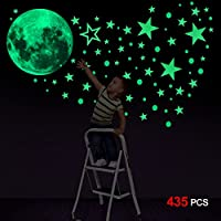 Konsait Glow In The Dark Stickers, 435pcs Luminous Dots Stars and Moon Wall Stickers DIY Wall Decal Murals for Nursery Baby Kids Bedroom Living Room Decoration