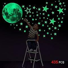 Idea Regalo - Glow In The Dark Stickers, Konsait 435pcs luminosi punti Luna Stelle Fluorescenti Adesive da Parete DIY Parete Arte per Decorazioni a parete cameretta bambini Fosforescenti Ragazzo Ragazza