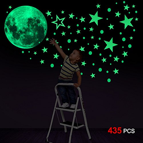 Konsait Luminoso Pegatinas de Pared, 435pcs Puntos Luna y Estrellas Adhesivos Decorativo...